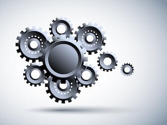 Roda dentada de metal 3d, Ilustração de alta tecnologia, engenharia, telecomunicações digitais, conceito de tecnologia em fundo azul.