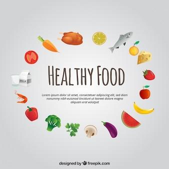 Rodada de alimentos saudáveis no design plano