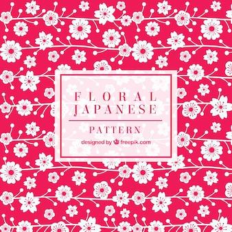 Rosa com mão branca desenhada flores japonesas