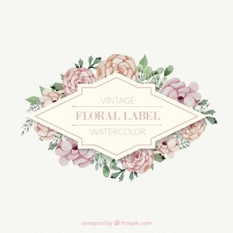 Rosas com folhas de etiqueta floral do vintage