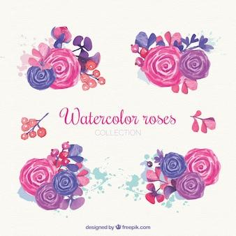 Rosas da aguarela em tons cor-de-rosa e roxos