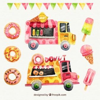Rosquinhas de aguarela, sorvetes e caminhões de comida