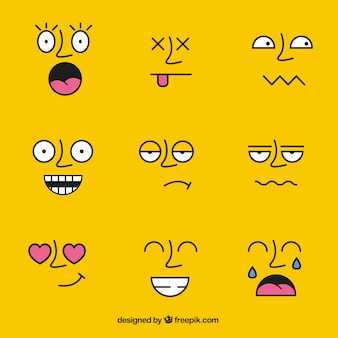 Rostos com expressões diferentes