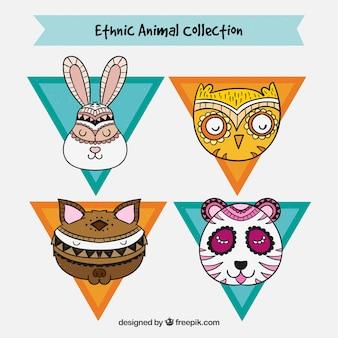 Rostos de animais com design étnico