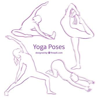 Roxo Yoga Pose silhuetas