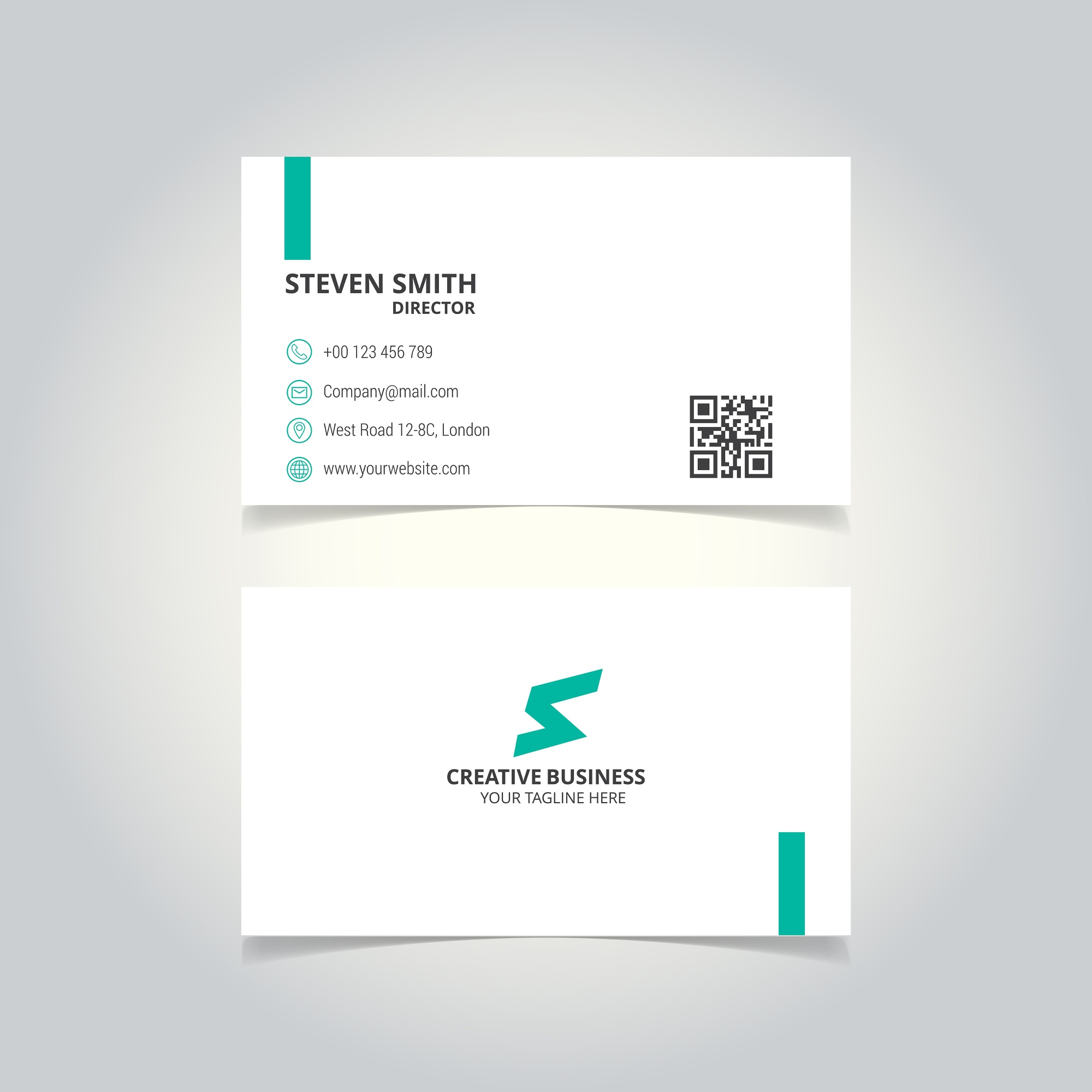 S carta logotipo Minimal Corporate Business cartão com cor branca e verde