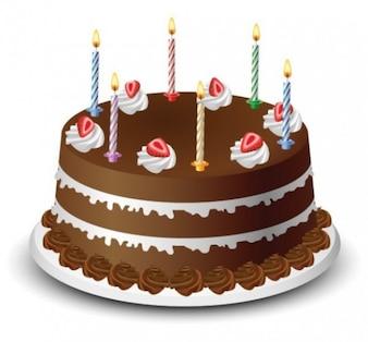 Saboroso bolo de aniversário ilustração vetorial