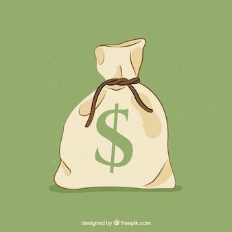Saco de dinheiro fechado desenhado mão