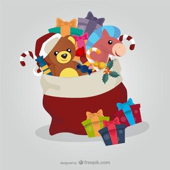Saco de Papai Noel com os brinquedos