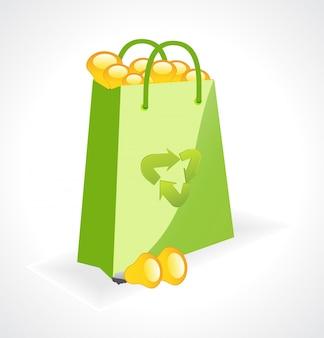 Saco verde vetorial com símbolo de ecologia