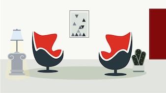 Sala de estar minimalista decorada fundo ilustração vetorial