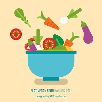 Salada vegan delicioso no fundo design plano