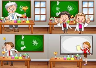 Salas de aulas científicas com ilustração dos professores