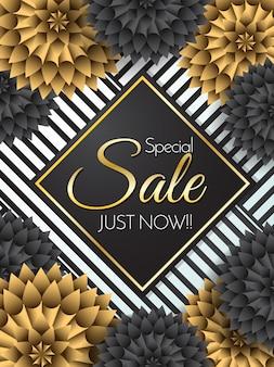 Sale Flowers Vector background para banner, poster, flyer