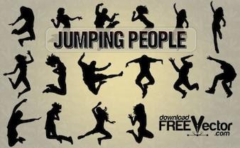 saltar todos os povos silhuetas
