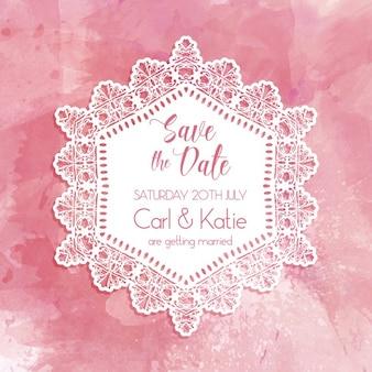 Salvar decorativa o convite da data com um design da aguarela