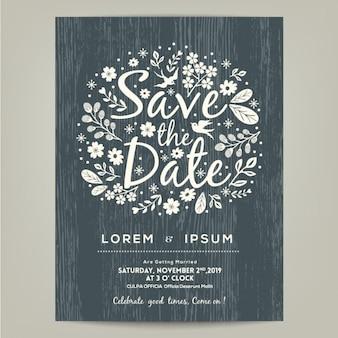 Salvar o cartão de data com ilustração desenhada mão floral