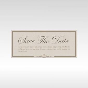 Salve a data do cartão de convite do casamento