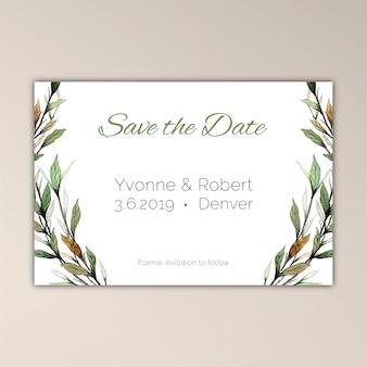 Salve o cartão de data com vegetação de aquarela