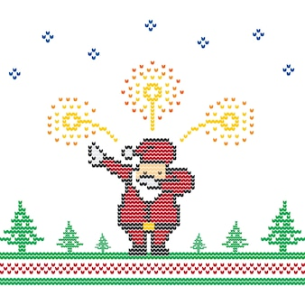 Santa Claus Dabbing Fireworks Christmas Sweater Arte vetorial de malha de pixel