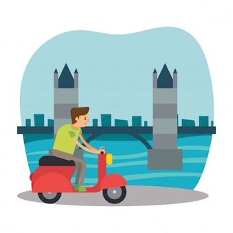 Scooter rider travel london bridge england personagem de desenho animado