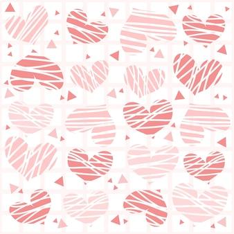 Seamless confetti, mão, desenhado, rosa, Coração, Padrão, fundo