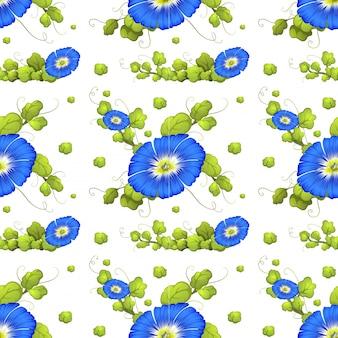 Seamless, fundo, azul, manhã, glória, flores, Ilustração