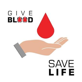 Segure o sangue na mão Excepto o conceito de sangue