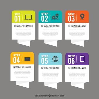 Seis bandeiras de papel para infográfico