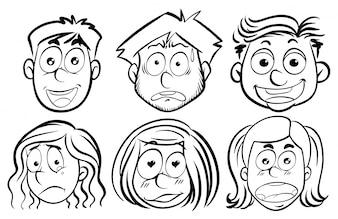 Seis caras com diferentes emoções