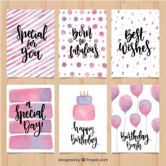 Seis cartões de aniversário rosa de aquarela