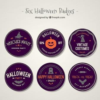 Seis coleção emblema do dia das bruxas