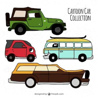 Seleção colorida de veículos dos desenhos animados