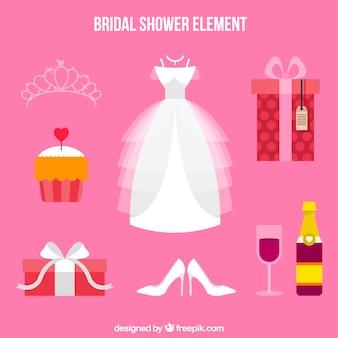 Seleção de acessórios de casamento plana