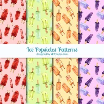 Seleção de aquarela de quatro padrões decorativos de sorvete