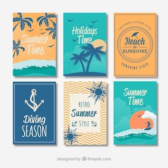 Seleção de cartões decorativos de verão em estilo vintage