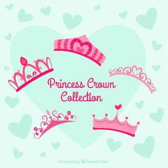 Seleção de cinco coroas de princesa em tons rosa