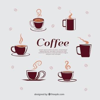 Seleção de diferentes copos de café