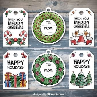 Seleção de emblemas decorativos para o Natal