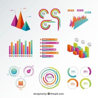Seleção de gráficos infográficos coloridos