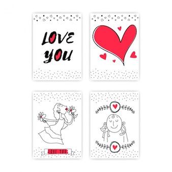 Seleção de quatro cartas de amor com detalhes vermelhos