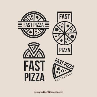 Seleção de quatro logotipos para a pizza
