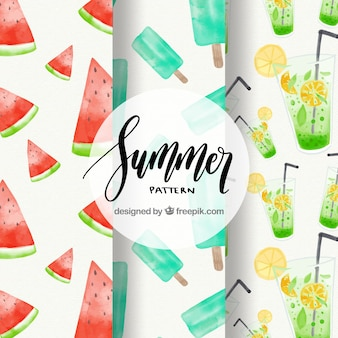 Seleção de três padrões de verão aquarela