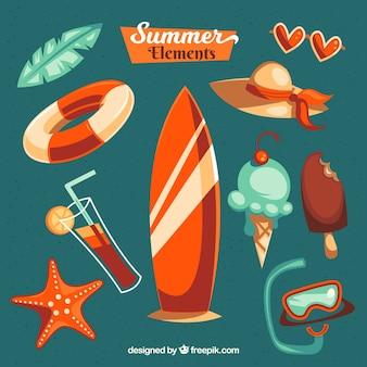 Seleção de verão de itens coloridos