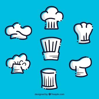 Seleção fantástica de chapéus do cozinheiro chefe