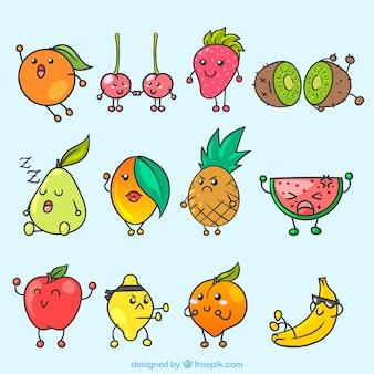 Seleção fantástica de personagens expressivos de frutas