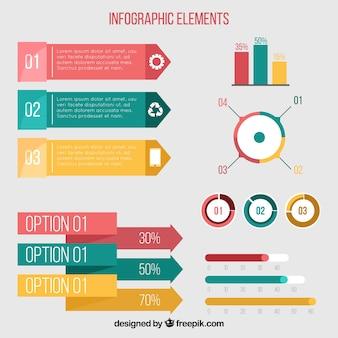 Seleção plana de elementos coloridos para infografia