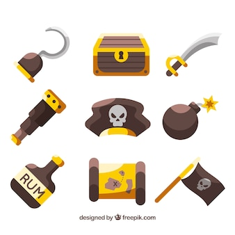 Seleção plana de objetos piratas