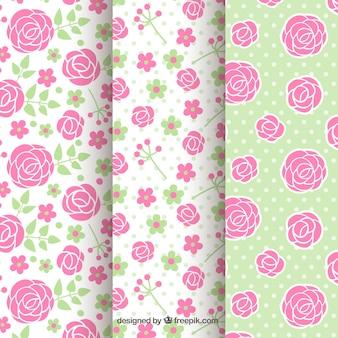 Seleção plana de padrões com rosas e pontos