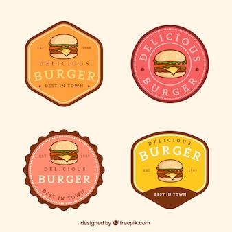 Seleção vintage de logotipos de hambúrguer